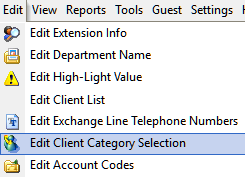 Edit Client Category Selection