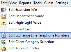 Edit Exchange Line Telephone Numbers