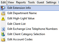 Edit Extension Information